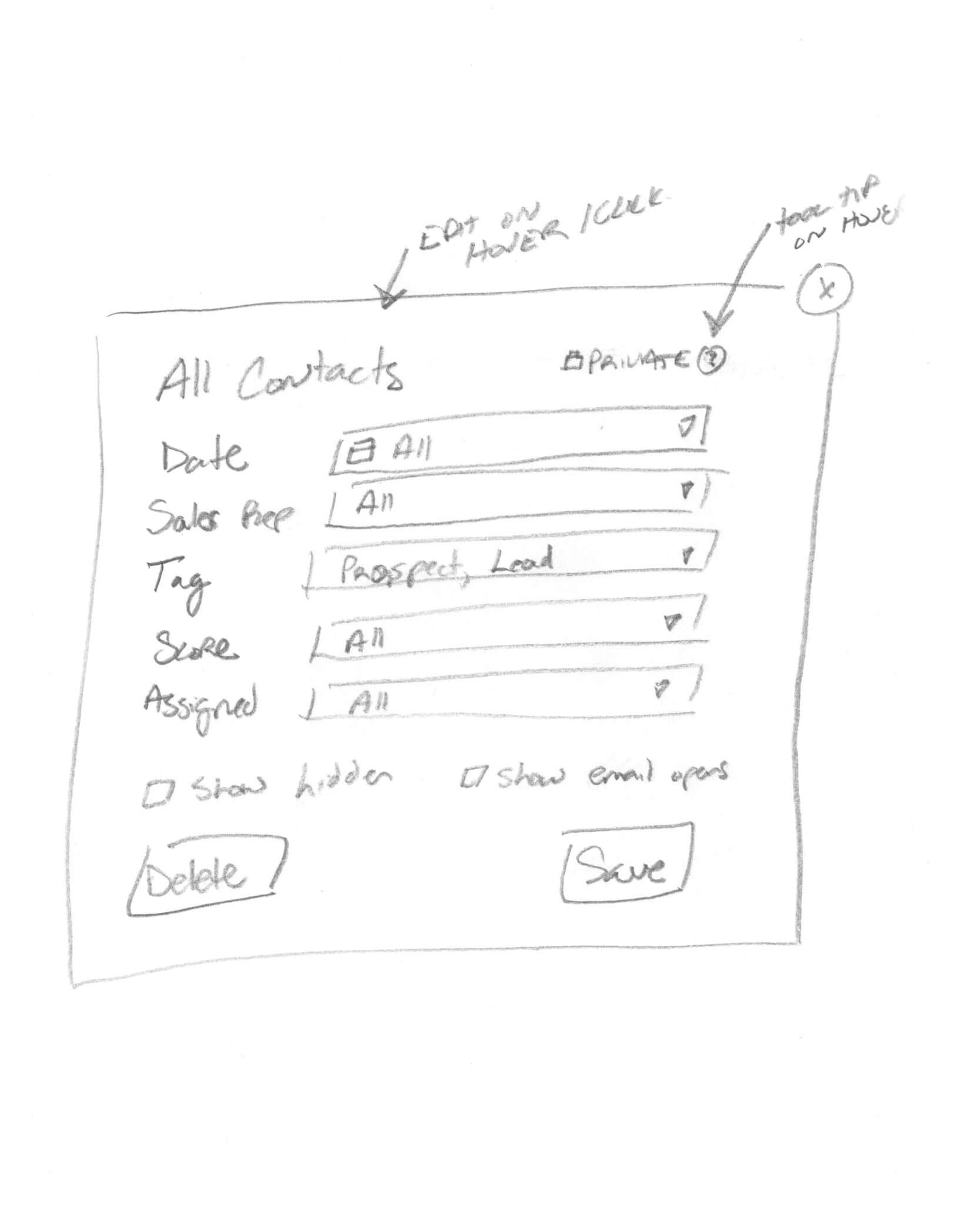 Contact Filter Concept Sketch